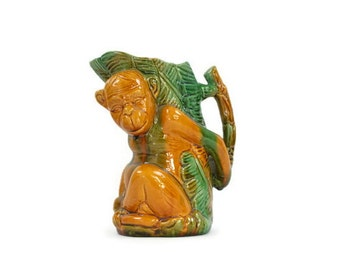 Vintage Monkey Pitcher -  Tiki Style Pitcher, Majolica Style Pitcher, Whimsical Decor, Vintage Barware, c.1950s