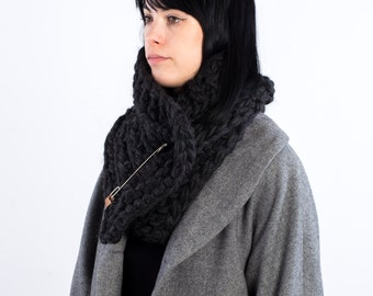 The Frileux (in Black Charcoal) /// oversize kitted scarf, cowl