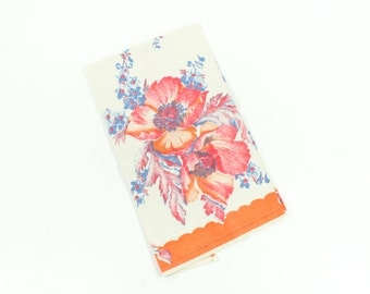 Vintage Towel - California Poppy Flowers & Leaves - Orange Red Fall Harvest Colors -  Heavy Cotton Yardage - Unused 1930s Watercolor Towel
