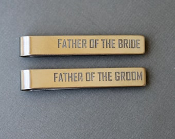 Father of the Bride and Groom Personalized Tie Clips - Custom Tie Bar - Men's Wedding Accessories - Wedding Party