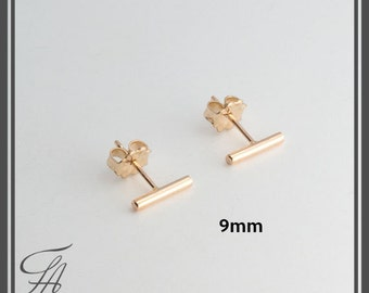 Line Studs,Gold Bar Earrings,Plain Round Bar Studs,Gold filled Studs,Handmade Studs,Bar Studs,Gold Stick,Earrings,Line Earrings,9x1.5mm
