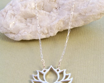 Sterling Silver Lotus Cut Out & Rubies Necklace~Yoga Inspired~ Inspirational