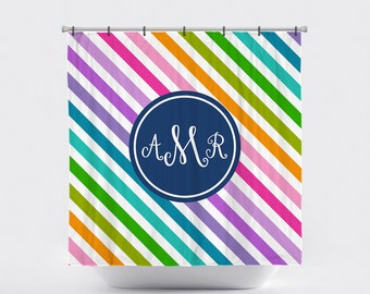 Shower Curtain Personalized Monogrammed Diagonal Stripes Multi Two