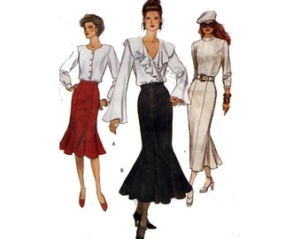 """Vogue Skirt Sewing Pattern 1990s Semi-Fitted Slightly Flared Midi or Evening Length Size 12 Waist 26.5"""" (67 cm) Vogue 8725 S"""