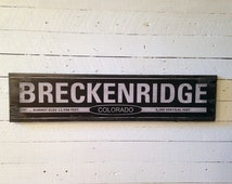 "Large ""Breckenridge Colorado"" Handcrafted Rustic Wood Sign - Original Alpine Graphics Design - 3 Sizes - 1017"