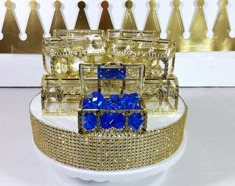 12 NEW Gold Treasure Chest Favors / Decorative Favors / LIttle Prince Or  Royal Prince Baby
