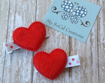Fuzzy Heart Hair Clip Set in Red-Valentines Day-Pigtails-No Slip Hair Clips