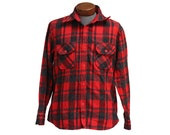 Thick Vintage Flannel Red Gray, Size Large, Wool Blend Northern Summit
