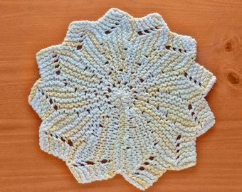 Vintage Yellow Doily, Hand Knit 11 inch Table Doily, Thick Doily Great for a Baby Nursery or for Using Under Dishes