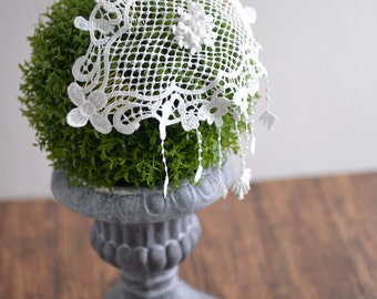Country side simple bridal hair comb, ivory lace wedding