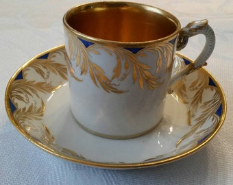 Meissen Tea Cup and Saucer; 18th Century; Empire Style With A Snake Handle From The Marcolini Period circa 1774-1814 #DSC