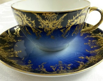 Limoges Tea Cup and Saucer; Initialed (JRS); Hand Painted By J. Pouyat; 19th Century  circa 1892     #DSC