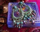 Large Exotic Green Verdigris Moroccan Moon Earrings, Turquoise Bohemian Gypsy, Amethyst Purple Crystal, Bronze or Silver Gemstone Hoop
