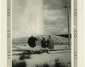 "Vintage Photo ""Geyser Watchers"" National Park Old Faithful Snapshot Old Photo Black & White Photograph Found Paper Ephemera Vernacular - 119"