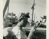"Vintage Photo ""Road Trip Beauty"" Snapshot Antique Photo Black & White Photograph Found Paper Ephemera Vernacular - 112"