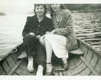 """Vintage Photo """"The Fashionable Rowboat"""" Girls Boat Snapshot Old Antique Photo Black & White Photograph Found Paper Ephemera Vernacular - 46"""