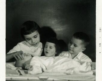 "Vintage Photo ""The Fourth Child"" Children Baby Snapshot Old Antique Photo Black & White Photograph Found Paper Ephemera Vernacular - 168"