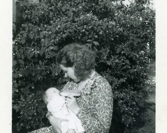 "Vintage Photo ""Her Adopted Ball of Sunshine"" Baby Mom Snapshot Antique Photo Black & White Photograph Found Paper Ephemera Vernacular - 188"