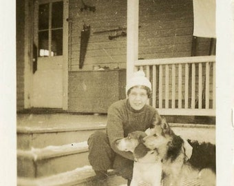 "Vintage Photo ""Winter Pups in Alaska"" Snapshot Antique Photo Black & White Photograph Found Paper Ephemera Vernacular - 171"