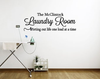 Custom Laundry Room (Sorting out life one load at a time) - Laundry Wall Decal, Laundry Vinyl Decal, Laundry Sticker, Laundry Decor, 26x9.25
