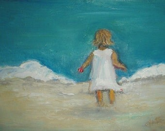 """Little Girl on the Beach - Oil painting - Portrait Painting - gift for mom, daughter - small oil painting 5""""x7"""""""