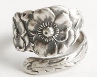 Poppy Ring, Sterling Silver Spoon Ring, Antique Spoon Ring, Poppy Flower Ring, Gardener Gift, Silver Poppy Ring, Adjustable Ring, SSMC, 6171