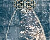 Sacred Geometry Art, Flower of Life Symbol, Archival Giclee Print, Mystic Inspirational Art