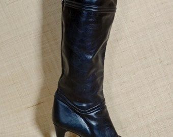 Sexy Vintage Bootalinos by Corelli High Heel Black Leather Boots, Made in Spain, Size 8