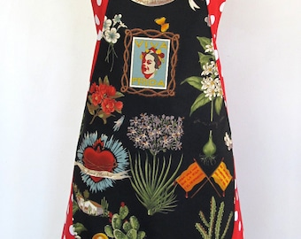 Apron-Artist Frida Kahlo-Reversible 2 Aprons in One! Mexican Folk Art Folklorico-Heart, -Hand Milagro-Flowers-Cactus-Day of the Dead