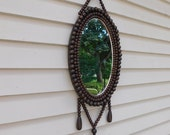 Vintage Wood Bead Framed Hanging Mirror