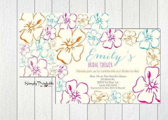 Tropical Bridal Shower Invitation, Hawaiian Wedding Shower Invite, Beach Bridal Invitation, Summer Bridal Invitation