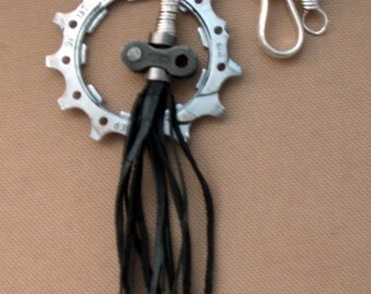 Bike Sprocket and Link with Rubber Tassel Pendant
