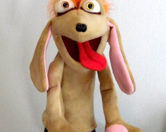 Woofly Dog hand puppet or ventriloquist figure professional