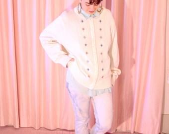 Cream White Knit Cardigan, Flower Detail XL
