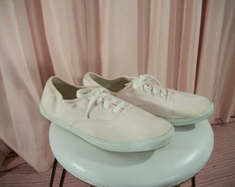 Pale Baby Pink Lace Up Sneakers, Pastel Skippies, sz 8.5