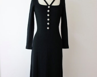 1970s ADOLFO Black Knit Rhinestone Dress