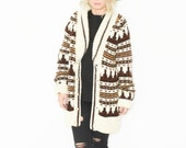 Vintage 70s BOHO Cardigan , Chunky Sweater , Car Coat