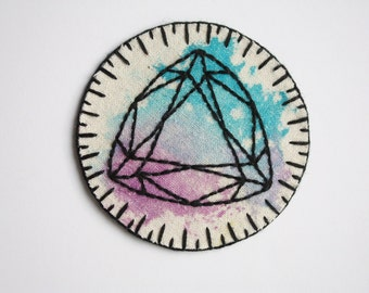 hand embroidered gem patch. trillion triangle diamond flourite crystal patch. purple and turquoise mixed media hand embroidery, wearable art