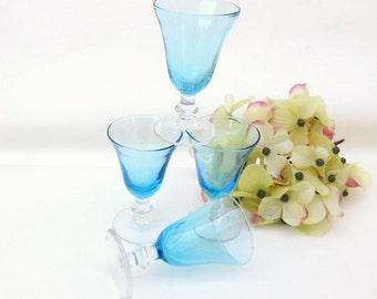Vintage Blue Barware, Turquoise Coupe Glasses, Crystal Stemware, Sherry Glasses, Cordial Glasses, Set of 4