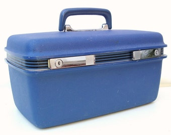 Vintage Samsonite Luggage Train Case Blue Carry On Bag Makeup Tray Mirror Zipper Pouch
