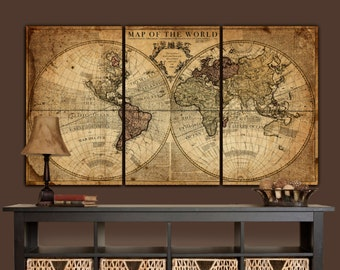 Canvas map etsy globe tan map world map canvas vintage map set large wall art canvas gumiabroncs Image collections