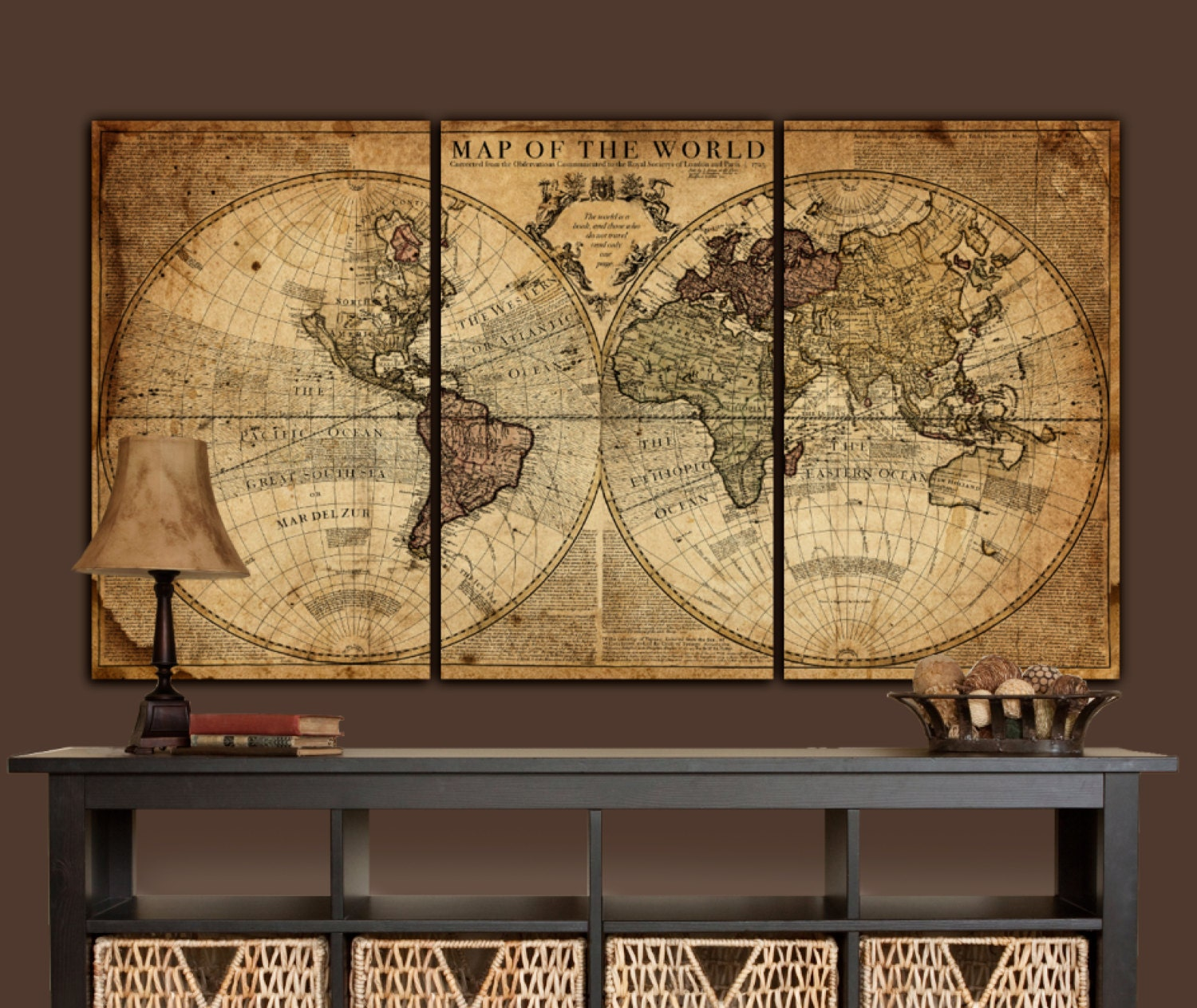 Globe tan map world map canvas vintage map set large wall for Wall hanging images