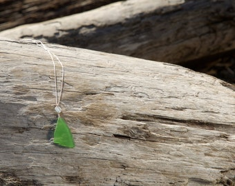 Kelly Green Sea Glass Necklace in Sterling Silver