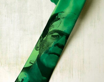 Frankenstein on mens  slim tie. Green gothic tie inspired by Boris Karloff movie. Gift for fan classic horror, steampunk, Mary Shelleys.
