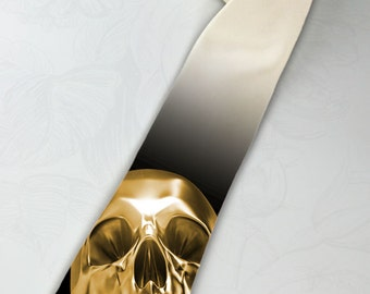 Gold skull necktie. Pirates of the Caribbean gold. Aztec gold skull necktie. Liquid metal tie. Movie tie. Ivory gold tie.