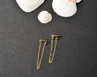14K Gold Filled drop chain earrings, gold ear jacket, double sided post earrings, front back long dangle earrings minimalist simple chain
