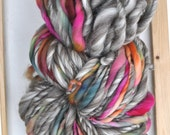 "Bulky Yarn ""Candy Rain"" Rainbow and Grey Brown Neutrals Handspun Big Chunky Soft Knitting Supplies Crochet Supplies"