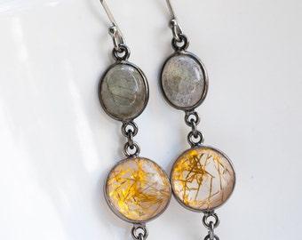 Rutilated Quartz Earrings - Labradorite Earrings - Black Oxidized Silver Earrings - Four leaf Clover Earrings - Dangle Earrings