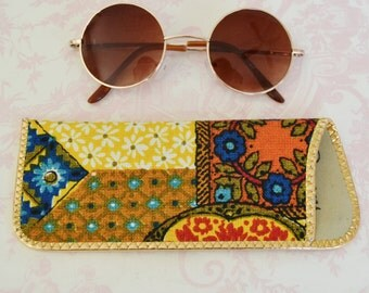 Vintage Eyeglass Case with Vibrant Fabric and Gold Trim Advertising Piece