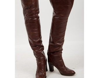 Vintage thigh high boots / 1970s leather Over the knee boots / New Romantic / 6